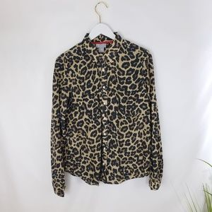 ⚈BOGO JCPenney Silk Blend Animal Print Button Up L
